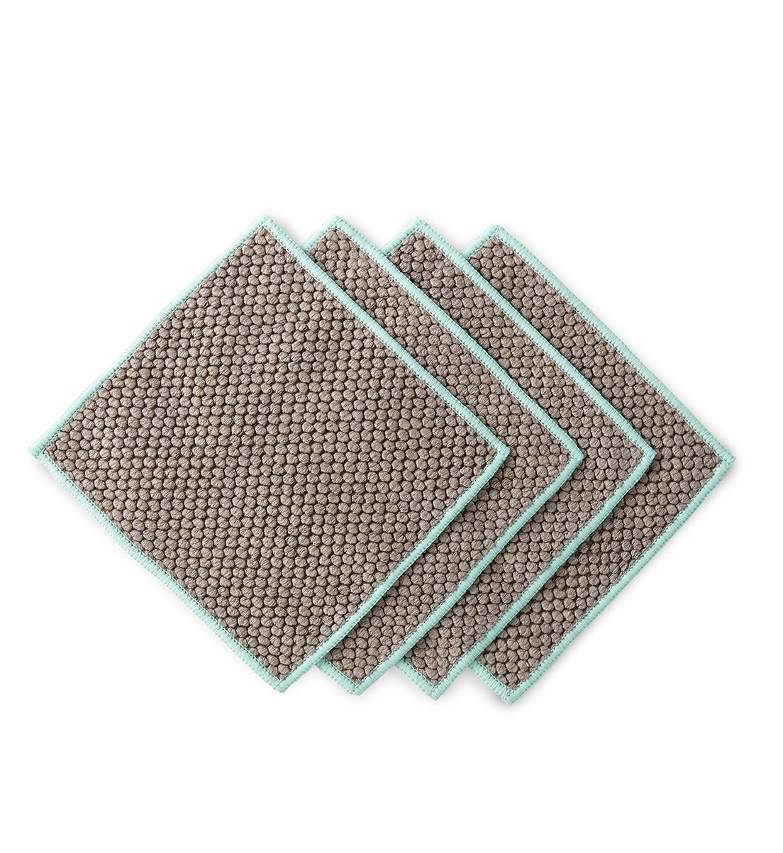 Counter Cloth Napkins, mushroom with sea mist trim