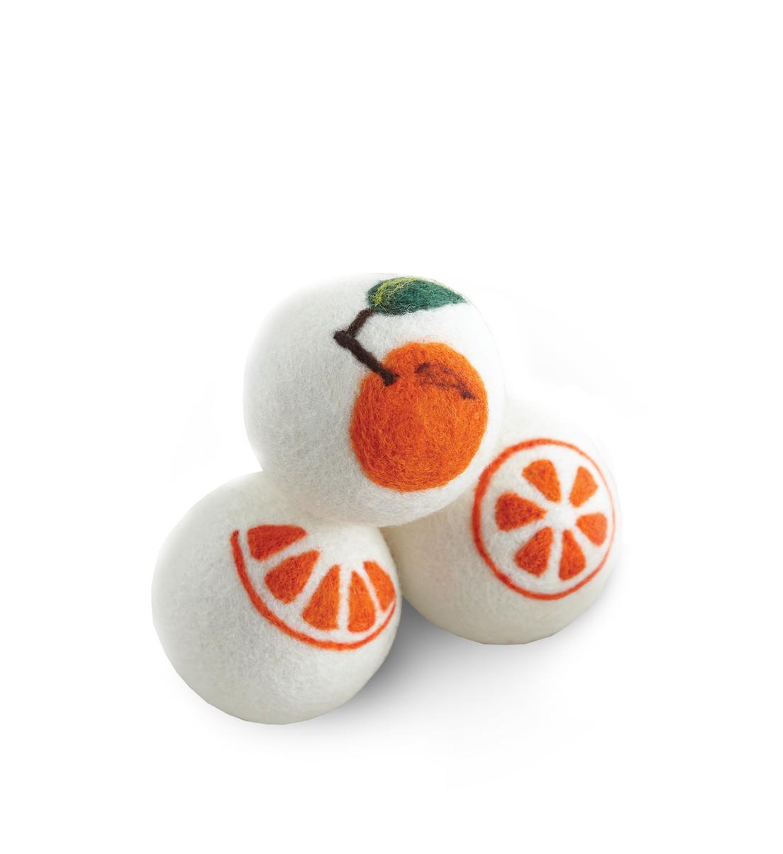 Fluff and Tumble Dryer Balls, citrus design
