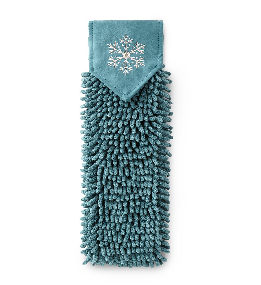 Snowflake Chenille Hand Towel, teal