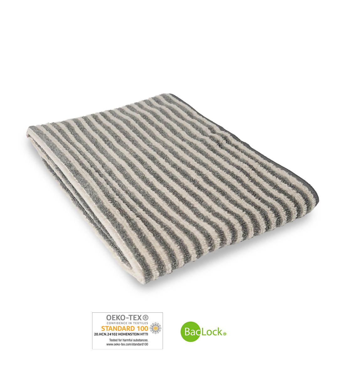 Hand Towel, striped graphite/vanilla