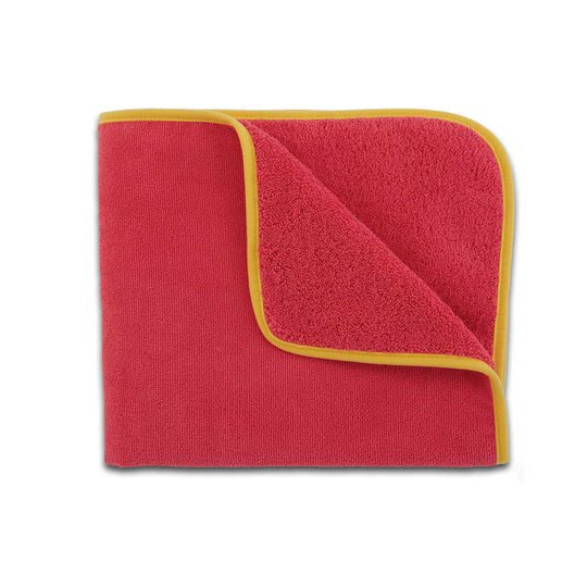 Kids Towel, pink with yellow trim